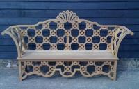 This very ornate bench was commissioned to replace an existing piece which had seen better days and arrived in the workshop in several rotted parts. The new bench was created in iroko, a hardwood from west Africa, and contains in excess of 100 individually crafted pieces to create the design.